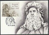 Kyrgyzstan 2019 Famous people Leonardo Da Vinci Maximum Card