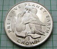 ISLE OF MAN 1996 CROWN, RAZORBILL BIRDS - PRESERVE PLANET EARTH SERIES, UNC