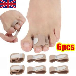 6X Toe Splint Straightener Cushioned Bandage Broken Toe Wrap For Hammer Toe NEW