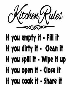 Kitchen Rules DIY Quote Wall Sticker Home Decor Vinyl Art Decal