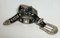 BHW Western Bling Cowgirl Leather Belt Rhinestones Black Size M