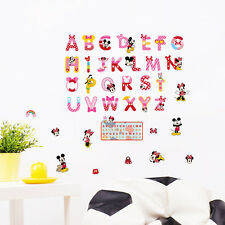 A-Z Alphabet Mickey Mouse Vinyl Mural Wall Stickers DIY Decals Kids Room Decor