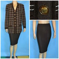 St. John Collection Knits Brown Jacket Skirt L 14 12 2pc Suit Cream Windowpane