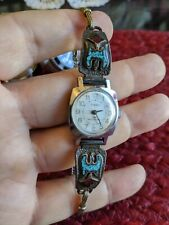 Native American Navajo Sterling Silver Coral,Turquoise, Ladies Watch Timex