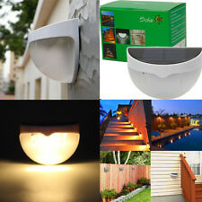 2Pcs Bright Outdoor 6-LED Solar Garden Security Light Fence Wall Lamp Warm White