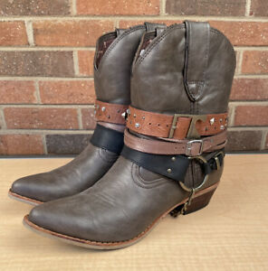 Durango Women's Crush Ankle Boots #DRD0121-Brown Leather  Womens Sz 9M EUC