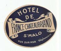 PITHIVIERS LOIRET FRANCE HOTEL DE LA POSTE VINTAGE LUGGAGE LABEL