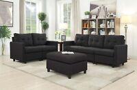 5 Seat Contemporary Sofa Set Modern Sectional Sofa Living Room Furniture Black