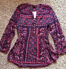 NWT! Women's Lucky Brand Paisley Aztec Peasant Boho M Top Shirt Blouse.