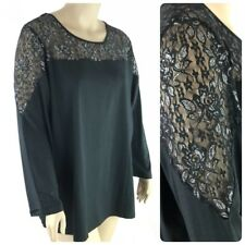 Denim 24/7 Top Women Plus 3X Black Silver Embellished Lace Long Sleeve Tunic New