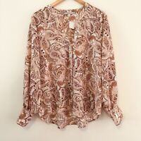 TARGET Women's Size 16 Silky Cream Paisley Floral Bishop Sleeve Blouse Shirt NEW