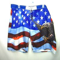 Spirit of America Swim Trunks Board Shorts Mens 2XL Flag Bald Eagle