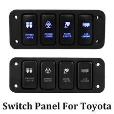 Car Auto 4 Gang Blue LED Light Rocker Toggle Light Switches Panel for Toyota 12V