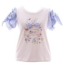 tp-102 ROSE RUBAN FLEURS BLEU BLANC tee-shirt sweet lolita pastel gothique