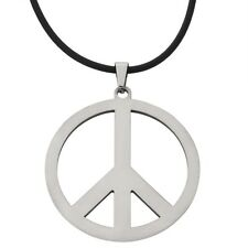 Large Peace Sign Stainless Steel Pendant Cord Necklace Jewelry