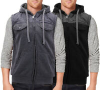 Men's Casual Two Tone Warm Fleece Soft Sherpa Lined Quilted Zipper Hooded Vest