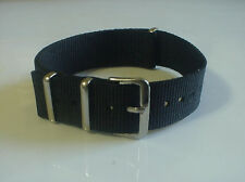 Black Regimental Nylon G10 22mm Military strap band fits ZULU Time Watch &others
