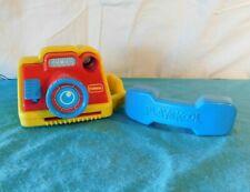 Vintage 1989 Playskool Hello Teddy Bear Phone Rattle + 1994 Polaroid Camera Pop