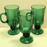 Vintage Libbey Green Glass Irish Coffee Mugs Cups Pedestal Tall Set of 3