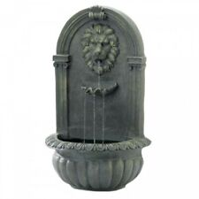 Regal Lion's Head Outdoor Stone-Look Garden Yard Decor Wall Fountain Mossy Green