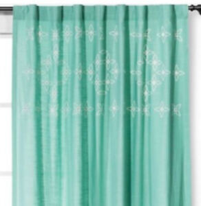 "Threshold  AQUA METALLIC EMBROIDERED Rod Pocket Curtain Panel  54""x84"""