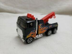 Vintage 1981 Hot Wheels Big Rig Semi Tractor Tow Truck Black Flames Black Wall