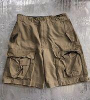 American Eagle Khaki Cargo Shorts Distressed Hem Cotton Men's Size 30