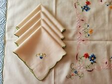 """4 Embroidered Cocktail Napkins 10"""" & Matching Embroidered Tablecloth 31"""" Beige"""