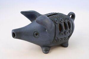 "Vintage Mclaren Australian Pottery Pig Money Box ""Blue"" Figurine Mid Century"