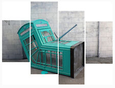 """20"""" X 40""""+ Long 4 Panel Wall Art Canvas Pictures Banksy Teal  Phone Box Prints"""