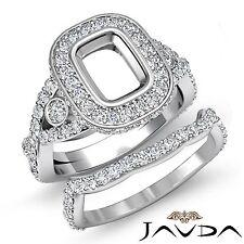 Cushion Diamond Engagement Pave Ring Bridal Sets Platinum 950 Setting 2.1Ct
