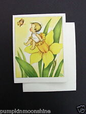 #E126- Unused 1947 Ars Sacra Eva Harta Greeting Note Card Angel Fairy Daffodil