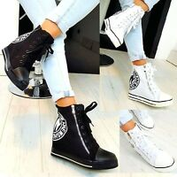 NEW WOMENS HIGH WEDGE SNEAKERS TRAINERS ZIP LACE UP ANKLE BOOTS WHITE BLACK 319T