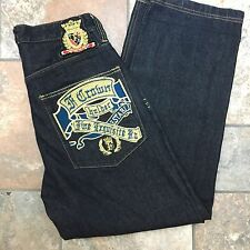 Crown Holder Button Fly Gold Embroidered 30 X 30 Men's Jeans Hip Hop Baggy M2