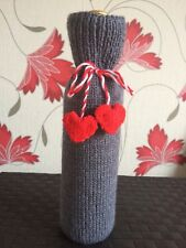 Valentine's Day Bottle bag Grey Gift bag  Hand knitted Unique