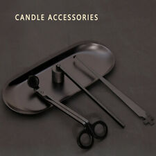 BLACK Candle Scissors Tray Bell Extinguishing Wick Trimmer Accessories Set 4 Pcs