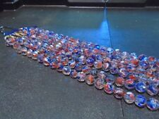 """11mm Red, White & Blue Swirls in Clear Glass Beads - 8"""""""
