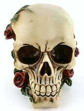 Collectible SKULL WITH ROSES Handpainted Resin Statue ROSE & VINES LOVERS