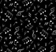 Fat Quarter Live Jazz Musical Notes Cotton Quilting Fabric Elizabeth's Studio