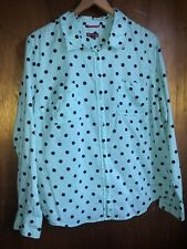 Merona Button Down Shirt Womens Sz XXL Polka Dots Blue 100% Cotton Lightweight