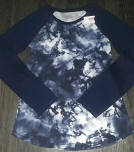 Girls justice long sleeve tee size 8 new navy tye dye