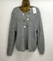 """NEW Grey Jumper Knitted Lagenlook With Wool One Size Bust 44"""" UK 14 16"""