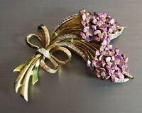Exquisite Vintage 1940`s R DeRosa Fur Clip Purple Lavender Spray Flower Bouquet