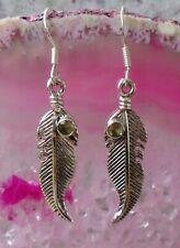 Earring Feather with Olivine Peridot Green Stone of the August