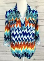 Cato Blouse Womens Medium M Blue Striped 3/4 Sleeve Collared 100% Rayon