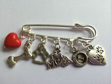 Antique Silver Tone Kilt Pin Brooch 5  'I LOVE MY DOG' charm gift bag present