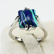 Malachite Gemstone Fashion  Jewelry 925 Silver Men Women Ring Size 7
