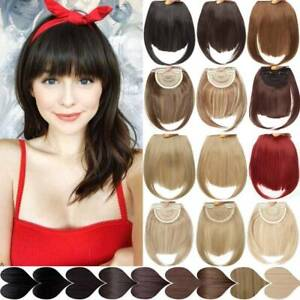 Thin Fringe NATURAL Bangs Clip in Hair Extensions Front Bang As Human Hairpiece