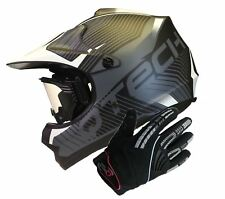 CASQUE de MOTO pour ENFANT avec LUNETTES de Protection gants Motocross NOIR
