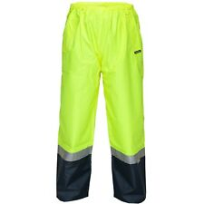 Prime Mover HV202 SMALL/MEDIUM Wet Weather Pull-On Cargo Pants Yellow/Navy
